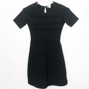 REISS Black Sheath Textured Stripe Sheath Dress -2